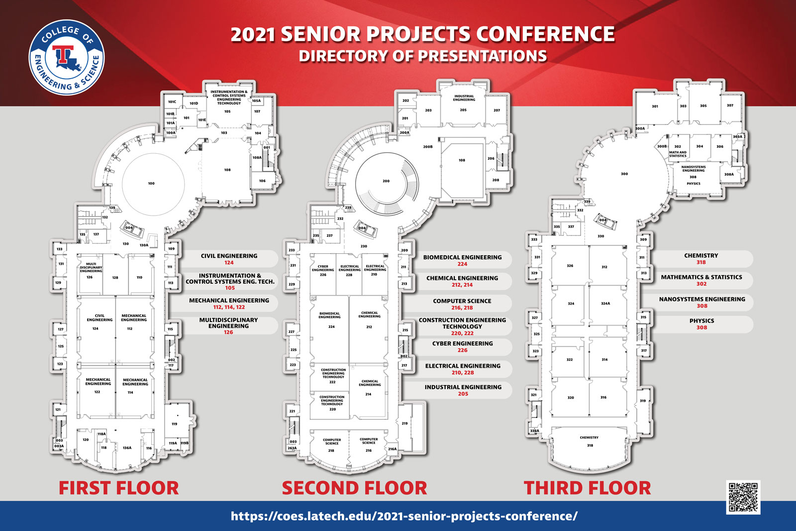 2021 Senior Projects Conference Directory of Presentations. First Floor: Civil Engineering 124, Instrumentation and Control Systems Engineering Technology 105, Mechanical Engineering 112, 114, 122, Multidisciplinary Engineering 126; Second Floor: Biomedical Engineering 224, Chemical Engineering 212, 214, Computer Science 216, 218, Construction Engineering Technology 220, 222, Cyber Engineering 226, Electrical Engineering 210, 228, Industrial Engineering 205; Third Floor: Chemistry 318, Mathematics & Statistics 302, Nanosystems Engineering 308, Physics 308.