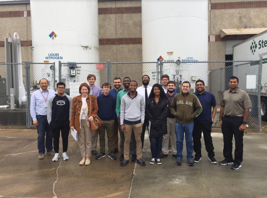 Louisiana Tech University IEEE Nanotechnology Council members outside an industrial building
